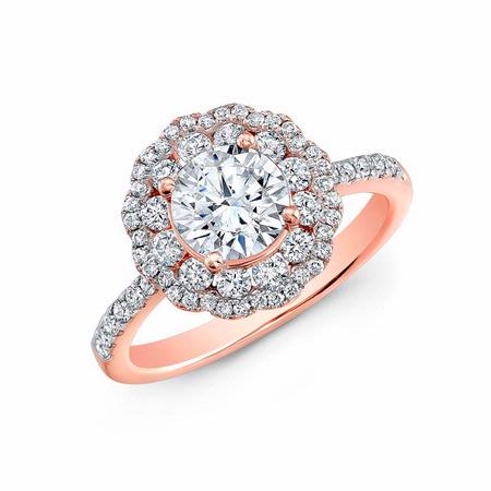 Natalie K Diamond 18k Rose Gold Double Halo Engagement Ring Setting