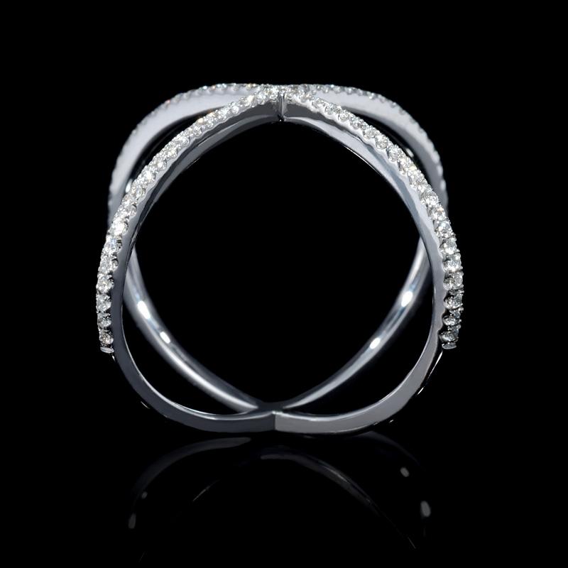 17ct Diamond 18k White Gold X Ring