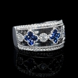 .56ct Diamond and Blue Sapphire Antique Style 18k White Gold Ring