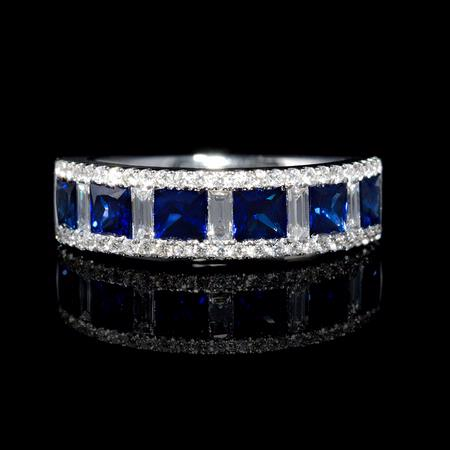 Diamond and Blue Princess Cut Sapphire 18k White Gold Ring