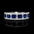 .50ct Diamond and Blue Princess Cut Sapphire 18k White Gold Ring