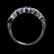 .26ct Diamond and Blue Sapphire Antique Style 18k White Gold Ring