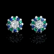 .79ct Diamond, Blue Sapphire and Emerald 18k White Gold Earrings with Jackets