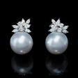 1.13ct Diamond and South Sea Pearl 18k White Gold Earrings