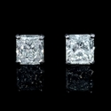 Diamond 3.24 Carats 18k White Gold Stud Earrings
