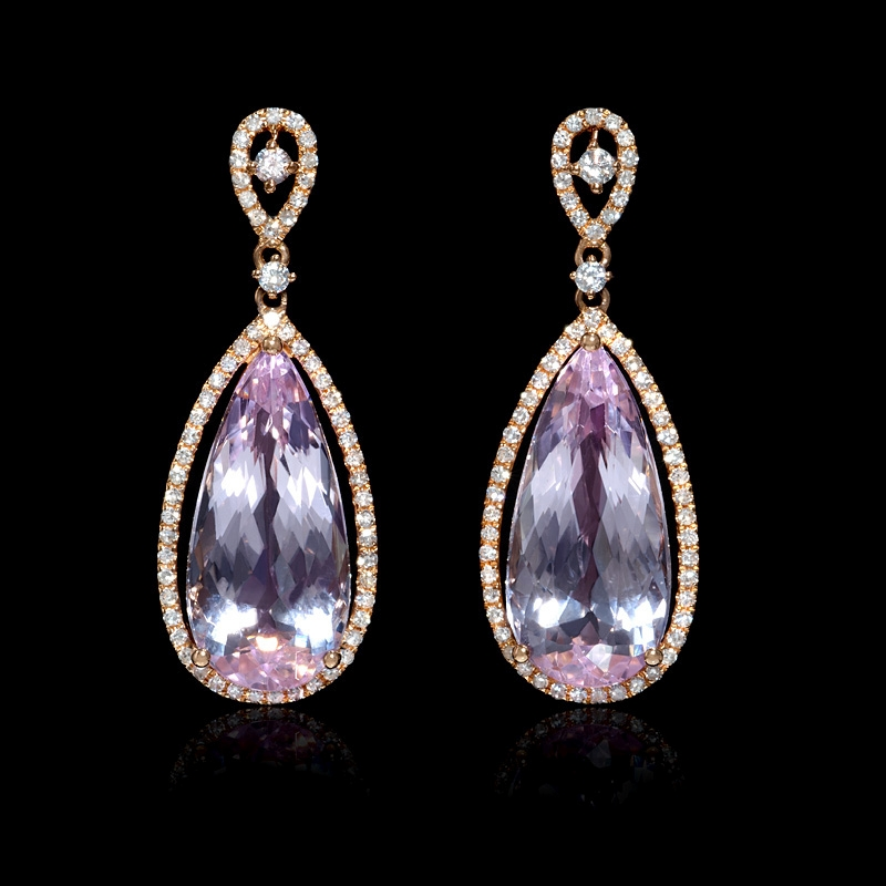 41ct Diamond And Pink Amethyst 18k Rose Gold Dangle Earrings