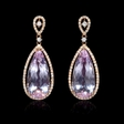 .41ct Diamond and Pink Amethyst 18k Rose Gold Dangle Earrings