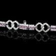 1.50ct Diamond and Baguette Cut Pink Sapphire 14k White Gold Bracelet