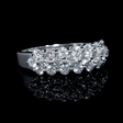 1.37ct Diamond 18k White Gold Three Row Ring