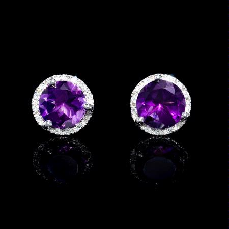 .12ct Diamond and Purple Amethyst 18k White Gold Earrings