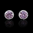 .08ct Diamond and Pink Quartz 14k White Gold Cluster Earrings
