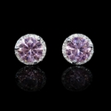 Diamond and Pink Quartz 14k White Gold Cluster Earrings