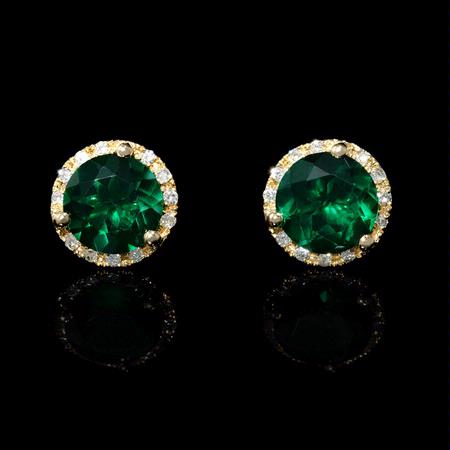 Diamond and Green Corundum 14k Yellow Gold Cluster Earrings