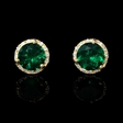 .08ct Diamond and Green Corundum 14k Yellow Gold Cluster Earrings