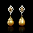 .82ct Diamond and South Sea Golden Pearl 18k Two Tone Gold Dangle Earrings