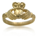 14K Yellow Gold Claddagh Wedding Band Ring