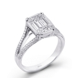 1.31ct Simon G Diamond Antique Style 18k White Gold Split Shank Mosaic Engagement Ring