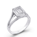 Simon G Diamond Antique Style 18k White Gold Split Shank Mosaic Engagement Ring
