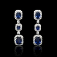 .93ct Diamond and Blue Sapphire 18k White Gold Dangle Earrings