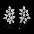 3.58ct Diamond 18k White Gold Cluster Earrings