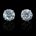 Diamond 4.49 Carats 14k White Gold Stud Earrings