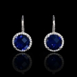 .16ct Diamond and Blue Corundum 14k White Gold Halo Earrings