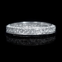 Diamond Antique Style 18k White Gold Eternity Wedding Band Ring