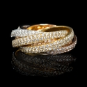 Diamond 18k Three Tone Gold Six Row Eternity Ring