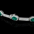 5.61ct Diamond and Emerald 18k White Gold Bracelet
