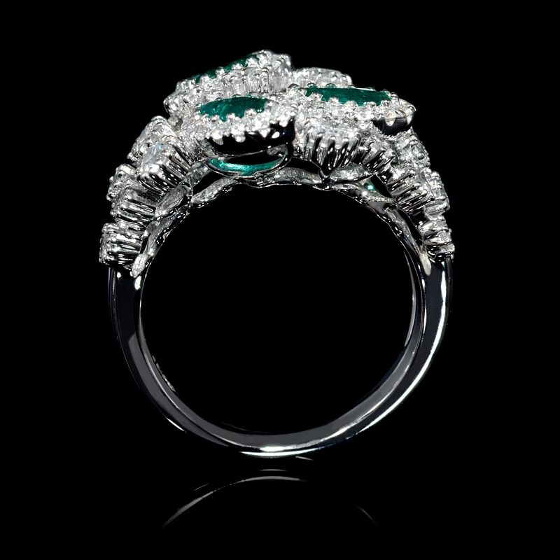 1 37ct and emerald 18k white gold ring