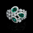 1.37ct Diamond and Emerald 18k White Gold Ring