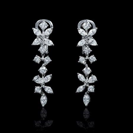 Diamond 18k White Gold Floral Dangle Earrings