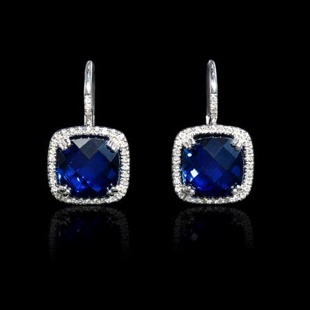 Diamond and Blue Corundum 14k White Gold Halo Earrings