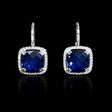 .15ct Diamond and Blue Corundum 14k White Gold Halo Earrings