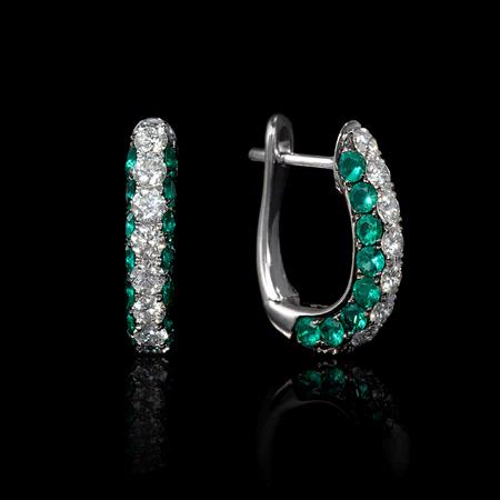 Diamond and Emerald 18k White Gold Huggie Earrings