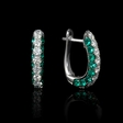 .76ct Diamond and Emerald 18k White Gold Huggie Earrings