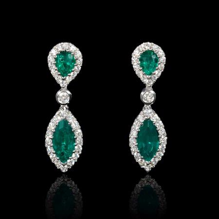 .37ct Diamond and Emerald 18k White Gold Dangle Earrings