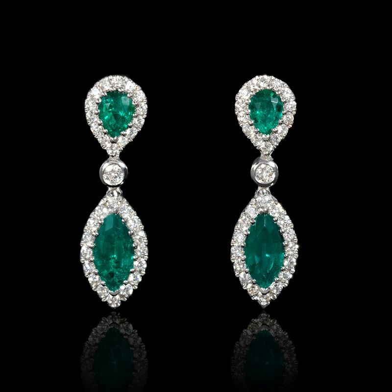 37ct Diamond And Emerald 18k White Gold Dangle Earrings