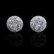 .75ct Diamond 18k White Gold Cluster Earrings