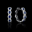 .37ct Diamond and Blue Sapphire 18k White Gold Huggie Earrings
