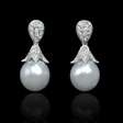 .40ct Diamond and South Sea Pearl 18k White Gold Dangle Earrings