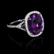 .33ct Diamond and Purple Amethyst 18k White Gold Ring