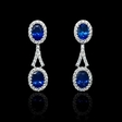 .1.04ct Diamond and Blue Sapphire 18k White Gold Dangle Earrings