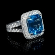 2.37ct Diamond and Blue Topaz 18k White Gold Ring