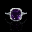 .43ct Diamond and Purple Amethyst 18k White Gold Ring