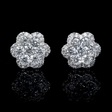 1.08ct Diamond 18k White Gold Cluster Flower Earrings