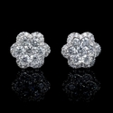 Diamond 18k White Gold Flower Cluster Earrings