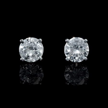 Diamond .90 Carat 14k White Gold Stud Earrings