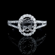 .42ct Diamond 18k White Gold Halo Split Shank Engagement Ring Setting