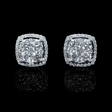 1.06ct Diamond 18k White Gold Cluster Earrings